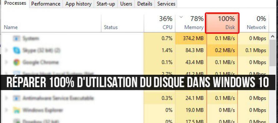 Comment réparer 100% d'utilisation du disque dans Windows 10