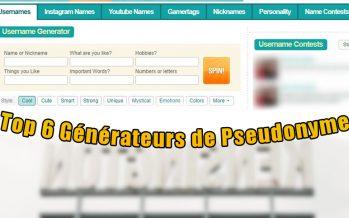 Top 6 Générateurs de Pseudonyme