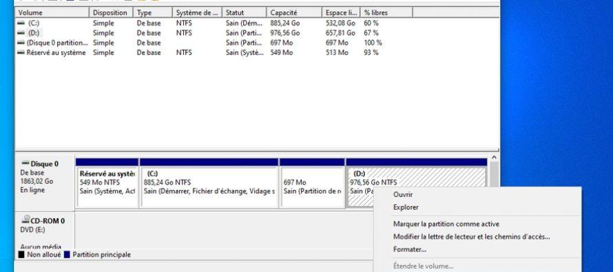 Comment étendre l'espace disque C (partition système) dans Windows 10